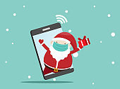 santa claus with gift box on mobile