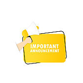 Important announcement icon. Megaphone with important announcement message in bubble speech banner. Loudspeaker. Advertising. Vector EPS 10. Isolated on white background