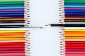 Multi-colored pencils in a row