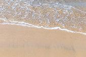 Clear sea water wave on fine clean sand beach
