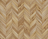 Seamless chevron 45 degree wood texture. Natural old rustic Oak hardwood or laminate pattern. Medium size planks.