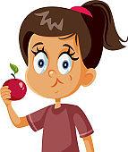 Cute Girl Eating an Apple Vector Cartoon