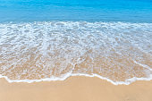 White wave on the fine sand beach, environmental and nature concept background