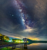 Night landscape at a hydroelectric dam with galaxies shining in the sky