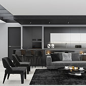 Luxury black interior living room with modern minimalist Italian style open space kitchen with big long kitchen island.