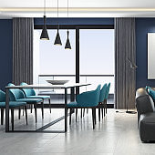 Luxury naval blue penthouse interior living room with modern minimalist style open space kitchen