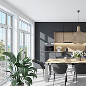 Modern Scandinavian kitchen and dining room