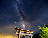 Night landscape in temple gate when milky way passes by creating shimmer in starry sky