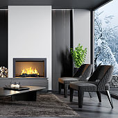 Modern minimalist apartment interior living room with fireplace