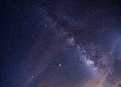 Midnight sky with magical light Milky Way or galaxy on a beautiful summer night.