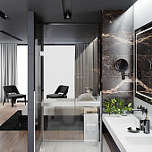 Luxurious apartment master bedroom interior with bathroom with shower inspired by high class hotel room.