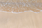 Clear sea water on fine sand beach, nature concept background