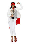 Latin american and hispanic ethnicity young women business person wearing mask - disguise and holding trophy