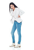 Latin american and hispanic ethnicity young women standing in front of white background wearing jacket