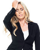 Caucasian female business person in front of white background