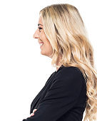 Caucasian female business person standing in front of white background