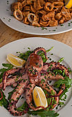 Grilled octopus pan seared in olive oil, butter and garlic and garnished w/ scallions and Italian parsley & served with lemons. Classic Italian, American restaurant or French bistro entree or appetizer.