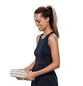 Front view / one person / waist up / portrait of 30-39 years old adult beautiful / ponytail / long hair african ethnicity / african-american ethnicity female / young women student / university student / businesswoman / business person / manager