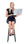 Caucasian young women business person resting wearing businesswear and using computer
