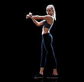 Caucasian female exercising in front of black background wearing sports shoe