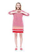 Caucasian young women standing wearing dress