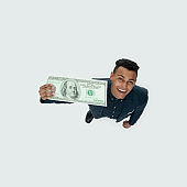 African-american ethnicity young male businessman standing in front of white background wearing shirt and holding currency