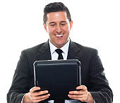 Caucasian young male businessman in front of white background wearing businesswear and holding checklist