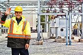 Caucasian male building contractor wearing waistcoat