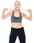 Generation z teenage girls exercising in front of white background wearing sports bra