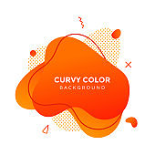 Modern liquid abstract element graphic gradient flat style design fluid vector colorful illustration banner simple shape template for presentation, flyer, isolated on white background.