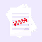 Rejected claim or credit loan form on it, paper sheets and rejected stamp flat style design vector illustration. Concept of denying document, cv resume, insurance application form.