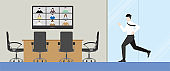 Urgent lifestyle concept. Office man running to online video conference meeting lately. Hurry up in rush hour to be on time of professional occupation. Banner illustration flat style minimal design.