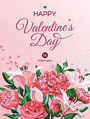 Vertical  Valentine's Day greeting card template. Pink and white flowers isolated on light background. Roses, Peonies and Lilies.