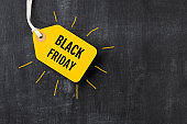 Sale tag with Black Friday written on blackboard