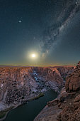 The Moon rising below the Milky Way at the Augrabies Falls Gorge