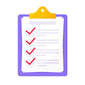 Clipboard with complete checklist flat style design icon sign vector illustration isolated on white background. Complete to do tasks application form or survey document business concept.