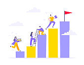 Career climbing and supporting with giving a helping hand business concept flat style design vector illustration.