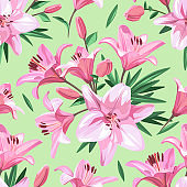Pink flowers - Lily. Seamless floral pattern on light green background. Spring illustration.