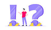 Q and A concept with tiny man people character with big question mark, frequently asked questions concept. Question answer and business support creative web page flat style design vector illustration.