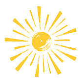 Yellow funny doodle sun. Hand drawn illustration isolated on white background.
