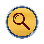 Magnifying glass icon super yellow round button illustration