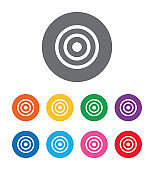 Target icon flat design round button set illustration