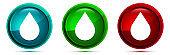 Water drop icon elegant round button set illustration