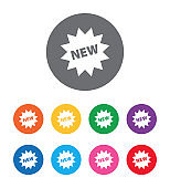 New star badge icon flat design round button set illustration