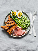 Delicious breakfast or snack - avocado puree, asparagus, ham, boiled egg, grilled whole grain bread on a grey background, top view