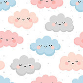 Cute cloud smiling face seamless pattern