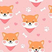 Dog Seamless Pattern Background, Happy shiba inu with dog paw and bone
