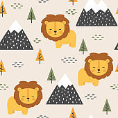 Lion cute seamless pattern, vector illustration background