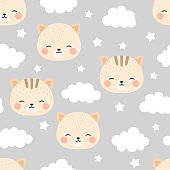 cats with cute kitty paw seamless pattern, doodle cat animals background