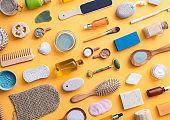 Zero waste self care productson yellow background